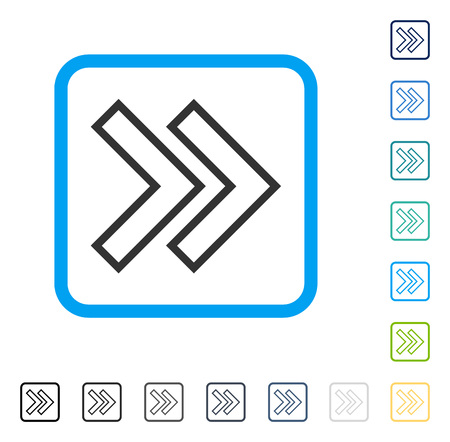 Shift Right icon inside rounded square frame. Vector illustration style is a flat iconic symbol in some color versions. Illustration