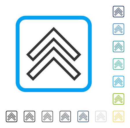 Shift Up icon inside rounded rectangle frame. Vector illustration style is a flat iconic symbol in some color versions. Illustration