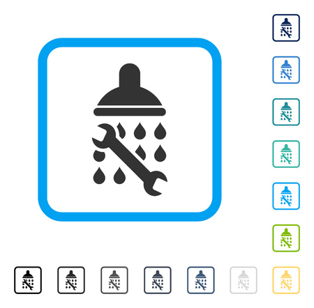 setup: Shower Plumbing icon inside rounded square frame. Vector illustration style is a flat iconic symbol in some color versions.