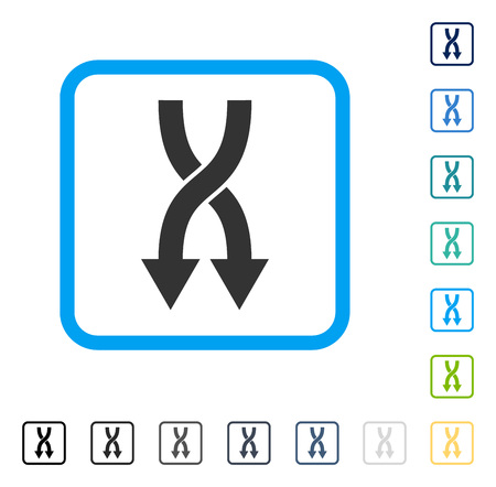 shuffle: Shuffle Arrows Down icon inside rounded square frame. Vector illustration style is a flat iconic symbol in some color versions.