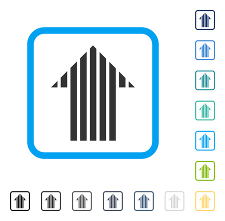Stripe Arrow Up icon inside rounded rectangle frame. Vector illustration style is a flat iconic symbol in some color versions.