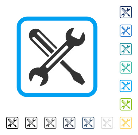 setup: Tuning icon inside rounded rectangle frame. Vector illustration style is a flat iconic symbol in some color versions.