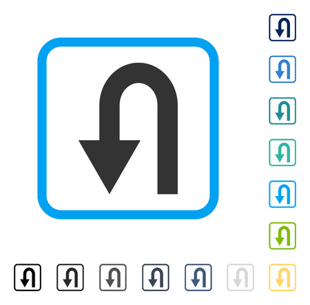Turn Back icon inside rounded rectangle frame. Vector illustration style is a flat iconic symbol in some color versions.