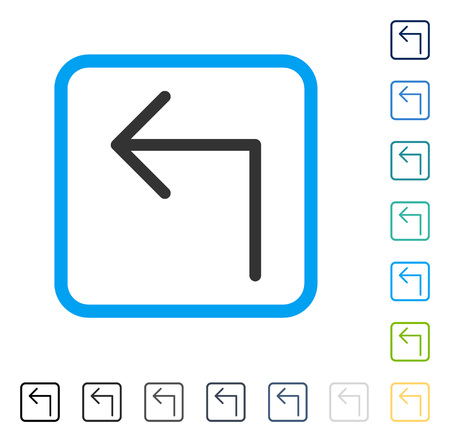 Turn Left icon inside rounded rectangle frame. Vector illustration style is a flat iconic symbol in some color versions.