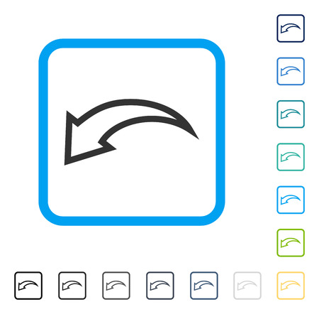 Undo icon inside rounded rectangle frame. Vector illustration style is a flat iconic symbol in some color versions. Illustration