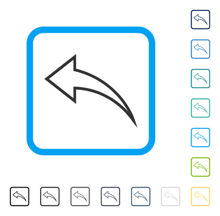 Undo icon inside rounded square frame. Vector illustration style is a flat iconic symbol in some color versions.