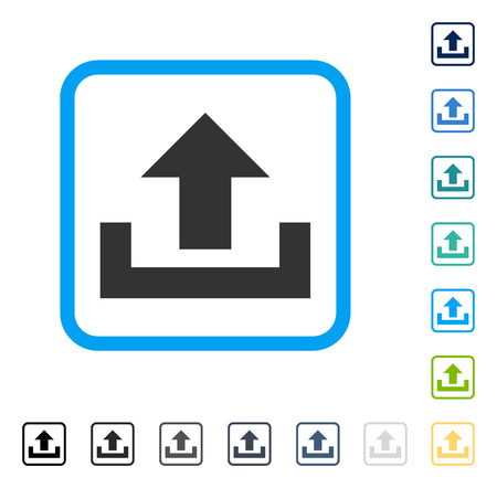 Upload icon inside rounded square frame. Vector illustration style is a flat iconic symbol in some color versions.