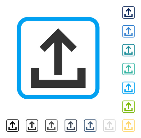 Upload icon inside rounded rectangle frame. Vector illustration style is a flat iconic symbol in some color versions. Illustration