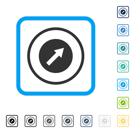 northeast: Up-Right Rounded Arrow icon inside rounded square frame. Vector illustration style is a flat iconic symbol in some color versions.