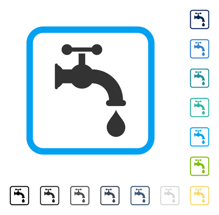 Water Tap icon inside rounded rectangle frame. Vector illustration style is a flat iconic symbol in some color versions.