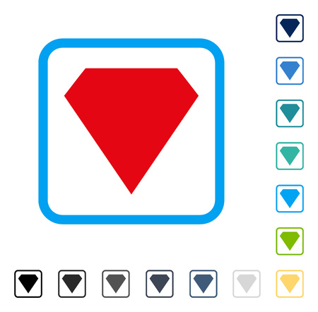 Diamond icon inside rounded square frame. Vector illustration style is a flat iconic symbol in some color versions. Ilustrace
