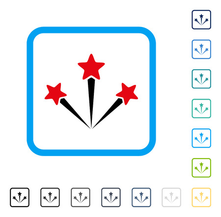 Festive Fireworks icon inside rounded rectangle frame. Vector illustration style is a flat iconic symbol in some color versions.