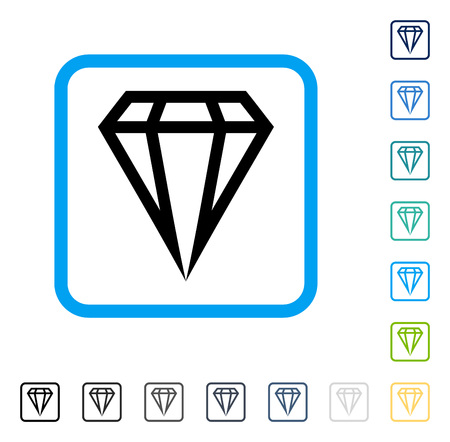 karat: Gem icon inside rounded square frame. Vector illustration style is a flat iconic symbol in some color versions.