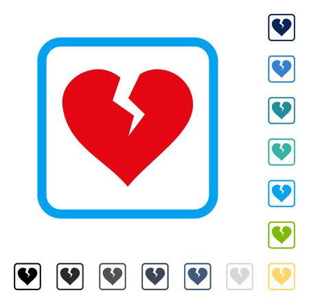 Icona di cuore spezzato all'interno della cornice quadrata arrotondata. Lo stile di illustrazione vettoriale è un simbolo iconico piatto in alcune versioni di colore. Vettoriali