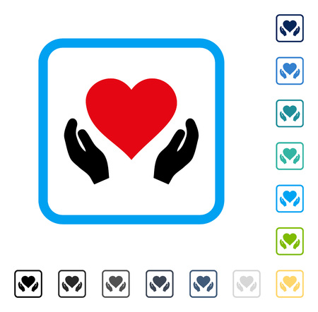 beware: Love Care Hands icon inside rounded square frame. Vector illustration style is a flat iconic symbol in some color versions.