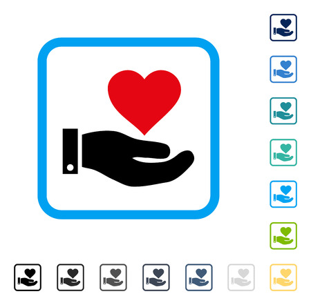 beware: Love Heart Offer Hand icon inside rounded rectangle frame. Vector illustration style is a flat iconic symbol in some color versions.