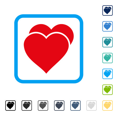 Love Hearts icon inside rounded rectangle frame. Vector illustration style is a flat iconic symbol in some color versions.