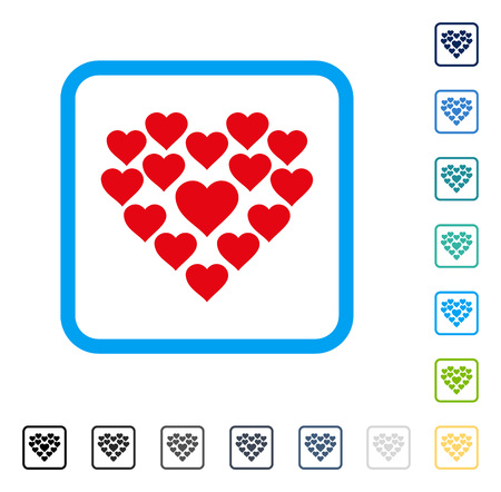 Love Hearts Shape icon inside rounded square frame. Vector illustration style is a flat iconic symbol in some color versions.