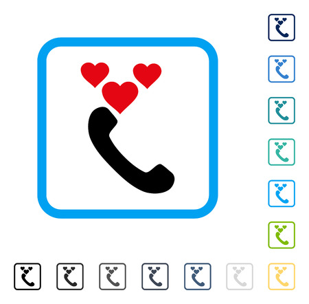 hotline: Love Phone Call icon inside rounded square frame. Vector illustration style is a flat iconic symbol in some color versions. Illustration