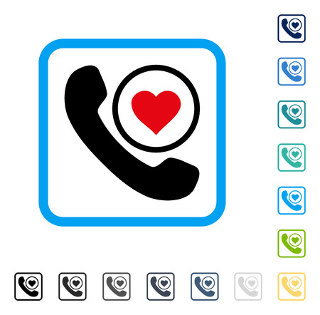 hotline: Love Phone Call icon inside rounded rectangle frame. Vector illustration style is a flat iconic symbol in some color versions.