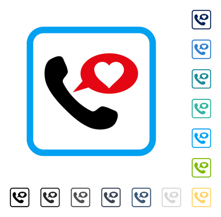 hotline: Love Phone Message icon inside rounded square frame. Vector illustration style is a flat iconic symbol in some color versions.