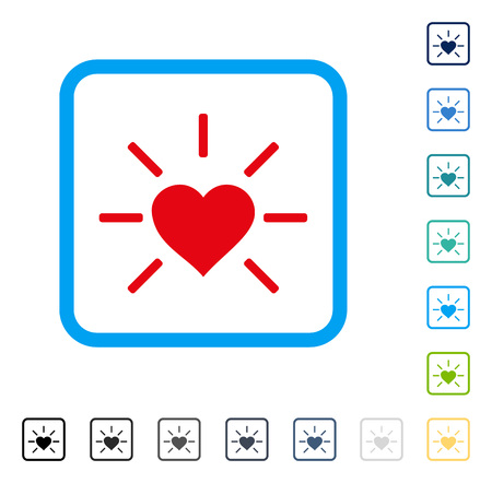 Shiny Love Heart icon inside rounded rectangle frame. Vector illustration style is a flat iconic symbol in some color versions. Illustration