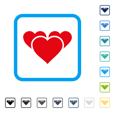Valentine Hearts icon inside rounded rectangle frame. Vector illustration style is a flat iconic symbol in some color versions.