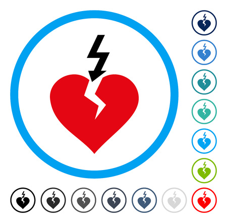 broken love: Break Heart icon inside round frame. Vector illustration style is a flat iconic symbol in some color versions.