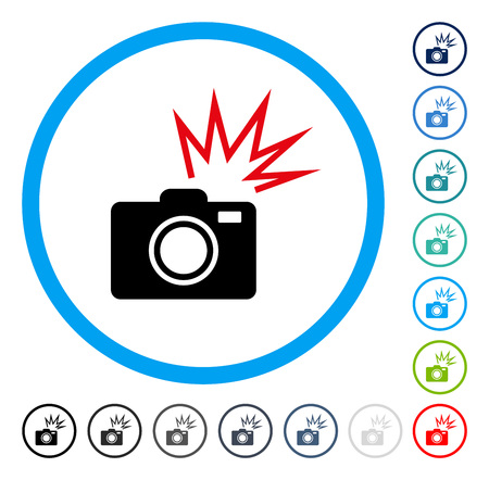 Camera Flash icon inside circle frame. Vector illustration style is a flat iconic symbol in some color versions. Illustration