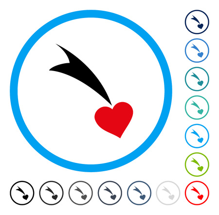 Falling Heart icon inside round frame. Vector illustration style is a flat iconic symbol in some color versions. Illustration