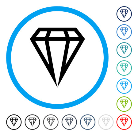 Gem icon inside round frame. Vector illustration style is a flat iconic symbol in some color versions.