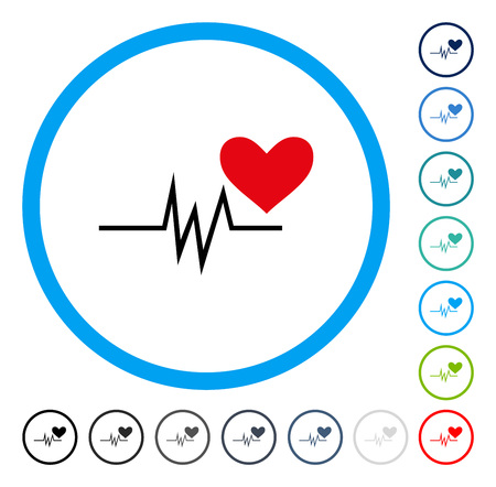 Heart Pulse Signal icon inside round frame. Vector illustration style is a flat iconic symbol in some color versions. Illustration