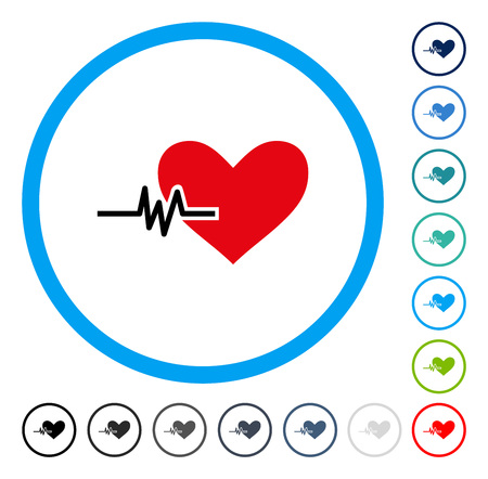 Heart Pulse icon inside circle frame. Vector illustration style is a flat iconic symbol in some color versions.