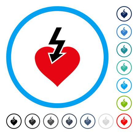 Heart Shock Strike icon inside circle frame. Vector illustration style is a flat iconic symbol in some color versions.