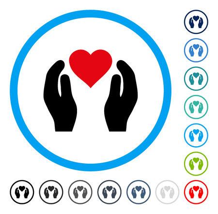 Love Care Hands icon inside round frame. Vector illustration style is a flat iconic symbol in some color versions.