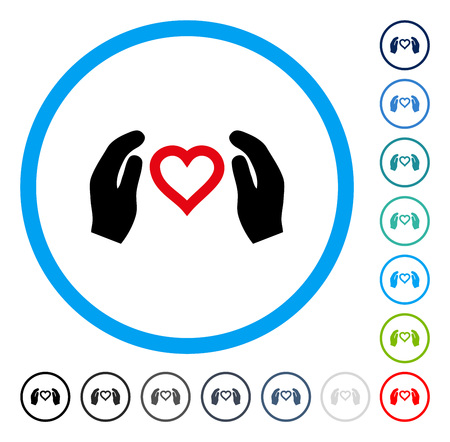 Love Care Hands icon inside circle frame. Vector illustration style is a flat iconic symbol in some color versions.