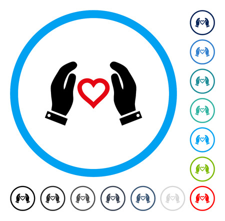 beware: Love Care Hands icon inside circle frame. Vector illustration style is a flat iconic symbol in some color versions.