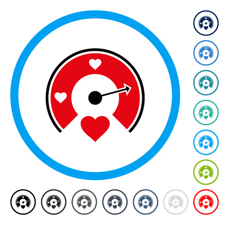 Love Gauge icon inside circle frame. Vector illustration style is a flat iconic symbol in some color versions.