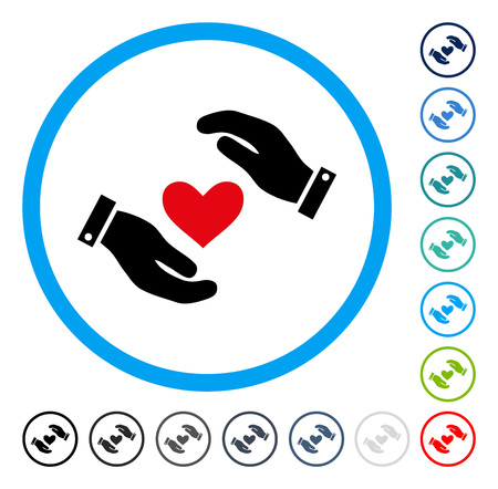 Love Heart Care Hands icon inside round frame. Vector illustration style is a flat iconic symbol in some color versions.