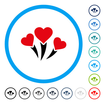 salute: Love Heart Fireworks icon inside circle frame. Vector illustration style is a flat iconic symbol in some color versions.