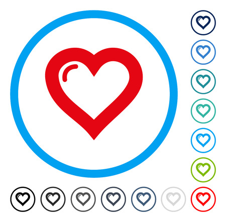 Love Heart icon inside circle frame. Vector illustration style is a flat iconic symbol in some color versions. Illustration