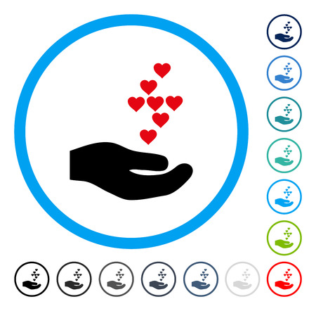 Love Hearts Offer Hand icon inside round frame. Vector illustration style is a flat iconic symbol in some color versions.