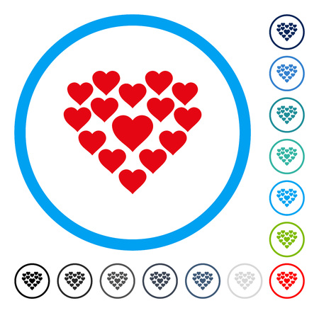 Love Hearts Shape icon inside round frame. Vector illustration style is a flat iconic symbol in some color versions.