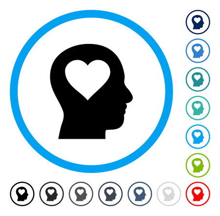 heart intelligence: Love In Head icon inside round frame. Vector illustration style is a flat iconic symbol in some color versions.