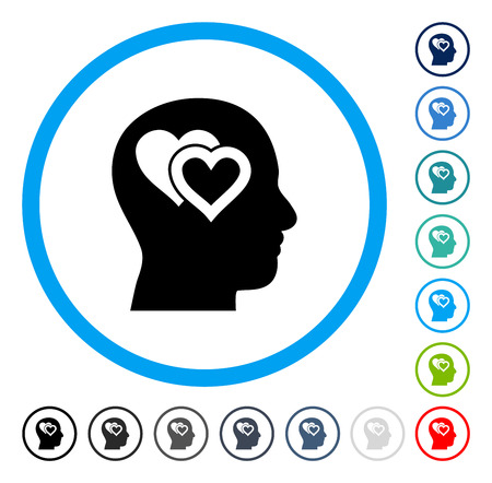 Love In Mind Icon Inside Circle Frame Vector Illustration Style