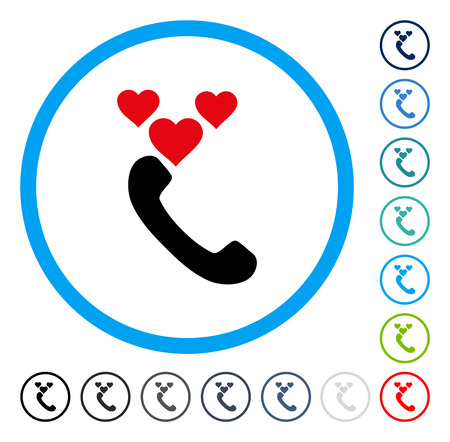 Love Phone Call icon inside round frame. Vector illustration style is a flat iconic symbol in some color versions.