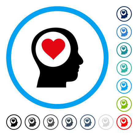 affection: Love Thinking Head icon inside circle frame. Vector illustration style is a flat iconic symbol in some color versions. Illustration