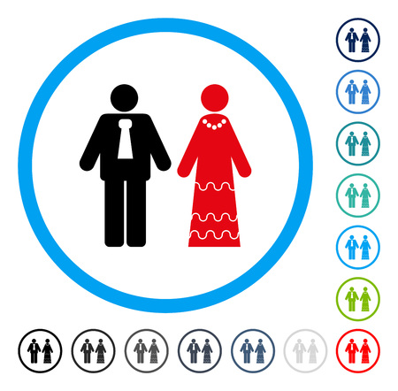 engagement party: Newlyweds icon inside circle frame. Vector illustration style is a flat iconic symbol in some color versions.