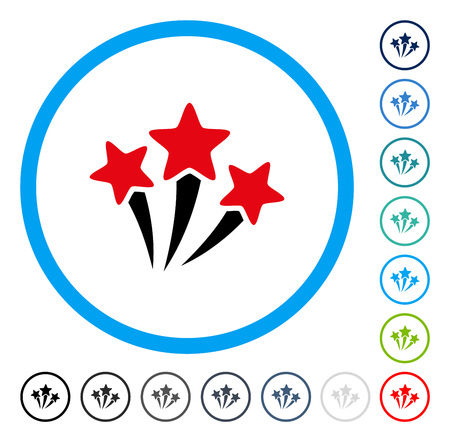 Star Fireworks icon inside circle frame. Vector illustration style is a flat iconic symbol in some color versions.