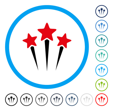 Star Salute icon inside circle frame. Vector illustration style is a flat iconic symbol in some color versions. Illustration